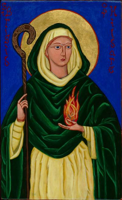 St. Brigid, also called Bride, is Ireland's most popular saint; she may have known St. Patrick. She established a monastery at Kildare and persuaded Conlaed to bring his monks and join her. She is often depicted with a crozier or shepherd's hook, a sign of episcopal office. We don't know whether she was ordained a bishop, but we do know she possessed similar authority. Her love for the poor endeared her to them. (Br. Kenneth Hosley, OPC)