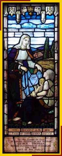 "St. Dorcas (also known as Tabitha) was a revered disciple in Joppa who ""devoted herself to good works and acts of charity."" When she died they sent for St. Peter, who raised her from the dead (Acts 9). (source unknown)"