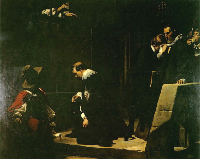 Paul de la Roche, 1836: Archbishop Laud Blessing the Earl of Strafford. Strafford was a close advisor to King Charles I, condemned to death by the Puritans who controlled Parliament. All three of them would eventually suffer the same fate. The English Civil War was both a secular and a religious struggle; how Protestant or Catholic England would be, whether freedom or uniformity was more important for the survival of the state, and who got to decide, Parliament or the King? Cromwell and Parliament won the war, but couldn't maintain a government after Cromwell's death.