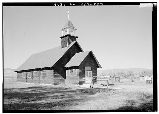 St. David's, Fort Washakie, Wyoming, one of John Roberts's churches on the Wind River Reservation. This is a replacement building but the church is still active. (Library of Congress)