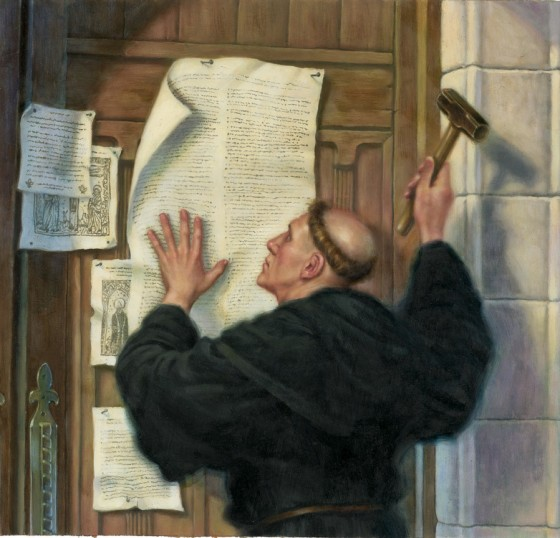 Greg Copeland: Luther Nailing His Theses to the Church Door. He was a professor of theology and a former monk whose two central ideas were these: that we are saved by God's grace, not by good works or buying our way out of God's judgment; and that the Bible is the only source of authoritative teaching about God. Both claims were interpreted as attacks on the the authority of popes - and Christianity was forever changed.