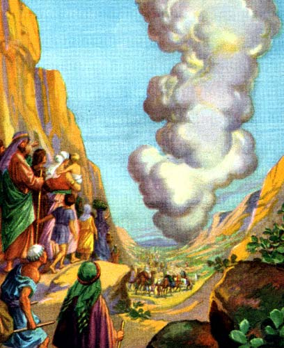 Moses and the Pillar of Cloud. (Providence Lithograph Company)