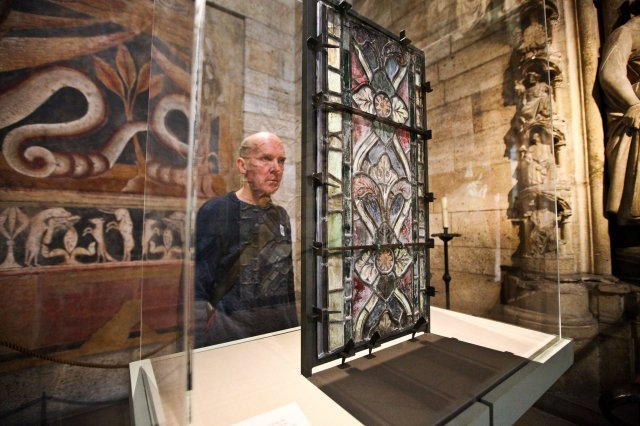 A border panel from the exhibit of stained glass from Canterbury Cathedral, now showing at The Cloisters in New York. (Byron Smith/The New York Times)