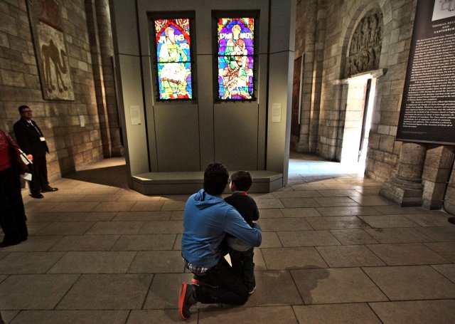 Up close with clerestory windows from Canterbury Cathedral at The Cloisters exhibit in New York. (The New York Times)