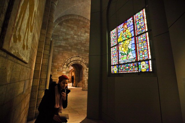 Lamech, father of Noah, one of the Canterbury Cathedral windows now being shown at The Cloisters in New York. (Byron Smith/The New York Times)