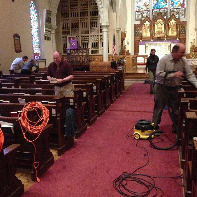 Lenten cleaning last week at Calvary Church, Memphis, Tennessee, USA. There are many ways to make your confession during Lent; cleaning God's house is one of them. (Chris Girata via Facebook)