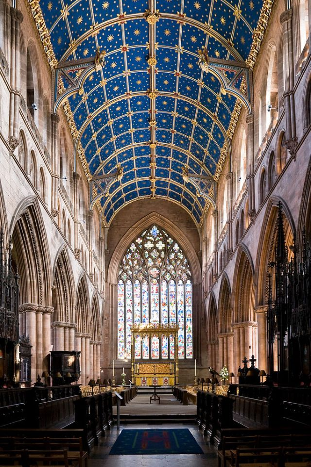 The famous barrel ceiling at Carlisle Cathedral dates to the 14th century. (Wikipedia)