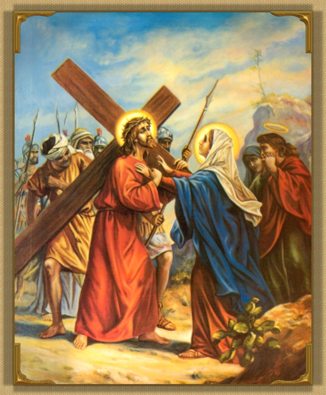 Station 7: Christ carrying the Cross. (artist unknown)