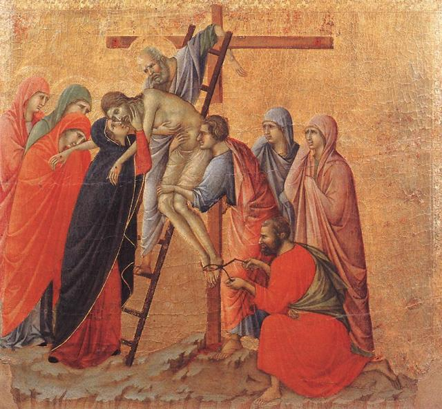 Station 13, Duccio di Buoninsegna, c. 1311: Deposition, or the Death of Christ, (Duomo Museum, Siena)