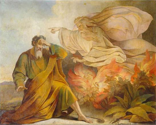 Eugene Pluchart, 1848: God Appears to Moses in the burning bush. (St. Isaac's Cathedral, St. Petersburg, Russia)
