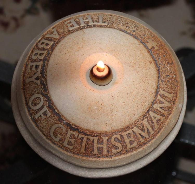Oil lamp at the famous Gethsemani Abbey in Kentucky, where spiritual author Fr. Thomas Merton lived and worked. (Letha Tomes Drury)