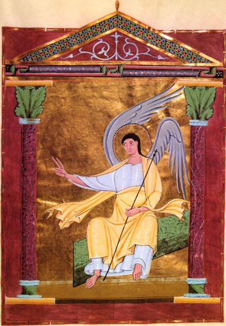 Abbey of Reichenau: Angel on Tomb, from the Pericopes of Henry II, Folio 117r, circa 1002-1012. (Bavarian State Library, Munich)