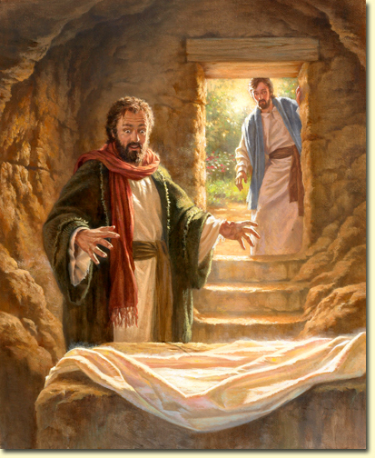 Peter at the empty tomb. (pegponderingagain.com)