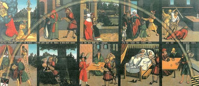 Lucas Cranach the Elder: The 10 Commandments. History remembers him for his several portraits of Martin Luther and for his exquisite woodcuts for the first German New Testament in 1522.