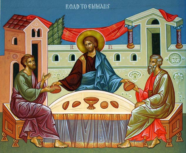 Breaking bread was how the resurrected Christ revealed himself to his followers on the road to Emmaus. (iconographer unknown)