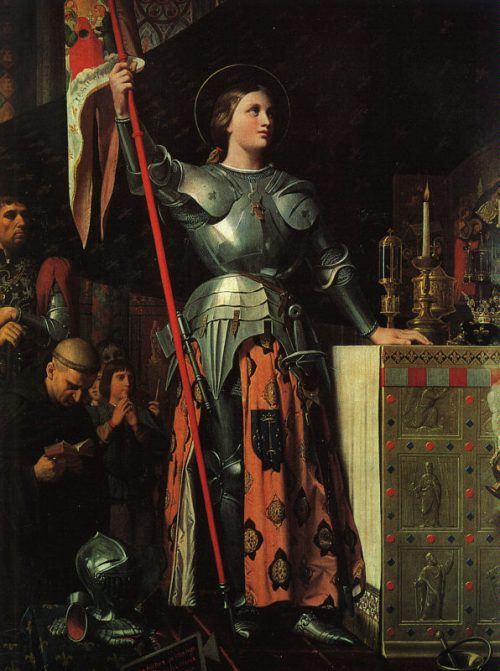 Jean Ingres, 1854: Joan of Arc at the Coronation of Charles VII. As a child she received visions of saints calling her to rescue France from a civil war of succession between two royal houses. She led troops into battle and won Orléans, but was later tried as a witch, probably for being a powerful woman, and a heretic, and put to death. One Pope declared her innocent after the fact and another canonized her in 1920. She is a patron saint of France.