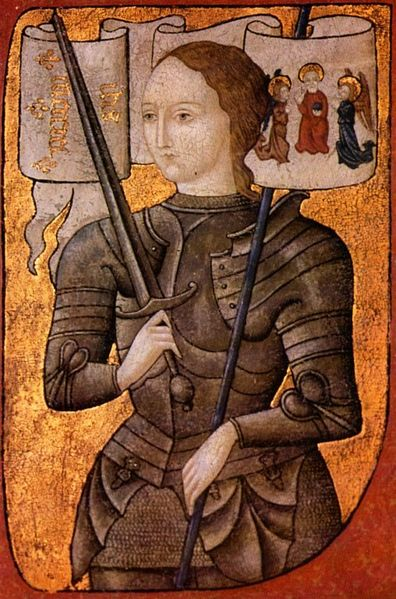 St. Joan was an illiterate peasant who had remarkable powers to persuade, lead and inspire. The French Dauphin or uncrowned king was not inclined to trust her at first, but his lackluster army was unsuccessful until he put her in charge. Then they started winning battles. (artist unknown)