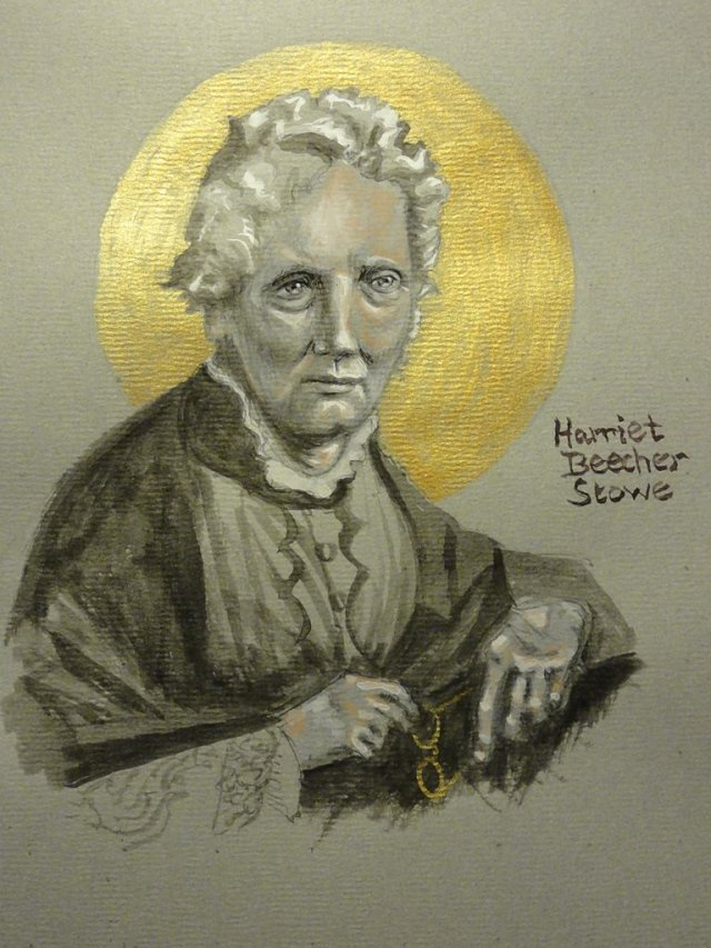 "Mrs. Stowe brought the evils of slavery to light not only in America, but also Britain, Russia and the rest of Europe. Harriet Beecher came from a distinguished family of Christian activists; her father Lyman Beecher was a famous preacher in the temperance movement, her mother Roxana ran a girls' school and advocated for the intellectual development of women, and her sister Catharine helped lead opposition to a racist U.S. president's ""Indian"" Removal Bill. (The Rev. Tobias S. Haller)"