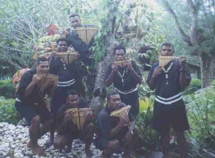 Melanesian Brothers display their panpipes. The pan flute, often made of reeds like bamboo, is used in folk music across Asia and Latin America and elsewhere; it's considered the forerunner of the pipe organ.