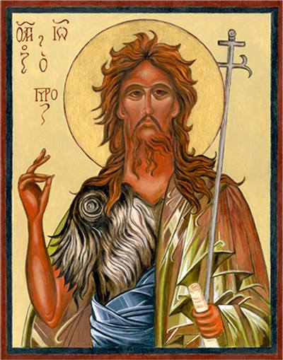 John the Baptist, a rough-looking character fresh off the desert. (Iconographer unknown)