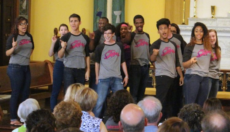 """At """"St. Paul's Presents"""" in Jeffersonville, Indiana, students from the local high school performed scenes from the Broadway revue """"Smokey Joe's Café"""" last week, raising money for the Clark County Youth Shelter. (via Facebook)"""