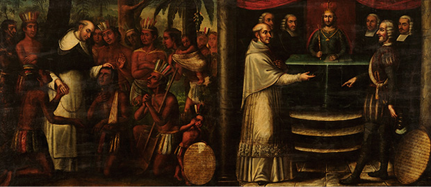 Bartolomé de las Casas diptych, attributed to Antonio Palacios y los hermanos Cabrera, c. 1837, Museo Histórico Domínico, Santiago de Chile. We see both his pastoral ministry, left, and his efforts to persuade the Church hierarchy and the king of Spain to ban the enslavement of Africans and aboriginal peoples in Spanish America.
