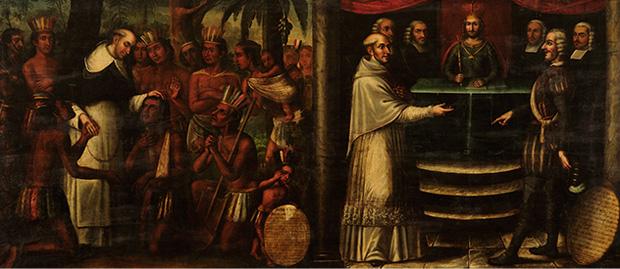 Bartolomé de las Casas diptych, attributed to Antonio Palacios y los hermanos Cabrera, c. 1837, Museo Histórico Domínico, Santiago de Chile. We see both his pastoral ministry, left, and his efforts to persuade Church and king to ban the enslavement of Africans and aboriginal peoples in Spanish America.