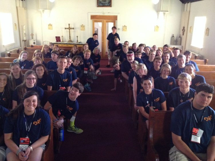 EYE 14 youth leaders at St. Mary's, Chester, Pennsylvania Friday. The big Episcopal Youth Event ends today. (Deirdre Whitfield on Facebook)