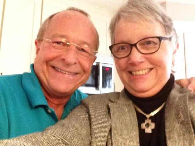 Bishop Robinson and the Rev. Susan Russell, associate rector of All Saints', Pasadena, California, had time for this selfie before the White House ceremony. Ms. Russell is a former president of Integrity, the LGBT caucus in The Episcopal Church. (Susan Russell on Facebook)