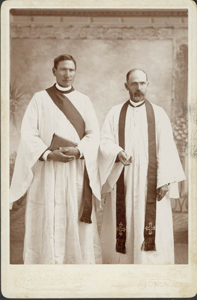 We have discovered a new source of photographs of the Rev. Deacon David P. Oakerhater, the Burnham Collection at Oklahoma State University. Above, the deacon with the Rev. David A. Sauman, likely his rector or supervisor, in El Reno, Oklahoma Territory (before statehood) in 1904. He was a Cheyenne warrior who was captured by the U.S. government and imprisoned in Florida, where a young Army captain noticed his talents and exposed him to the Christian faith. He was baptized and undertook a ministry of peace and reconciliation among the Native American tribes of the Indian Territory. (Burnham Collection, Oklahoma State University)