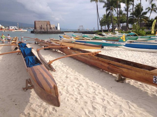 Outriggers are lined up on the beach on the Big Island of Hawai'i for this week's Queen Liliuokalani's Long Distance Canoe Race, including a celebration of Native Polynesian culture and storytelling. (Queen's Race page on Facebook via Deacon Leilani)