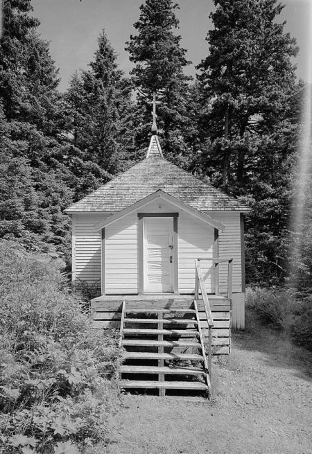 Saints Sergius and Herman of Valaam Chapel on Spruce Island in Alaska was built over the original resting place of St. Herman's remains, before they were removed to the Orthodox cathedral. (Library of Congress)