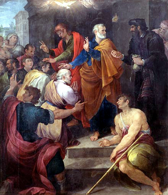 """Avanzino Nucci, 1620: St. Peter's Conflict with Simon Magus. The following episode, about buying spiritual power and church preferment, gave rise to the term """"simony."""""""