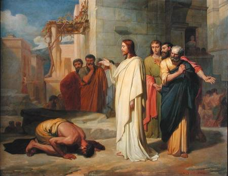 Jesus healing a leper. Other artists, in treating this episode, focused more on depicting the man's skin disease, while this painter illustrated his reverence and humility. (Jean-Marie Melchior Doze, Musée des Beaux-Arts, Nimes, France)