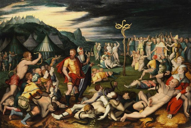 Flemish, 17th Century: Moses and the Bronze Serpent. (vbookery.wordpress.com)