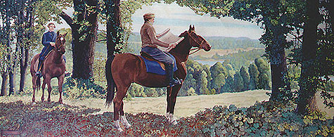 """Norris Rahming: Bishop Chase Selects the Location for Old Kenyon. He is depicted with his lawyer Henry B. Curtis, who recalled that they left the horses behind halfway up Gambier Hill. When they got to the top they could see miles of beautiful valley below, whereupon Chase exclaimed, """"Well, this will do!"""" (Papers of Philander Chase at Kenyon College)"""
