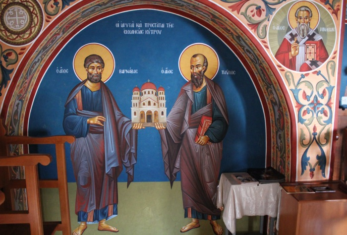 Barnabas and Paul, at the Stavrovouni Monastery on Cyprus. They hold up a church to indicate that they were builders; Barnabas, a Cypriot Jew, accompanied Paul on many of his travels to the Hellenized cities of Asia Minor. Barnabas may also have been a cousin of St. Mark.