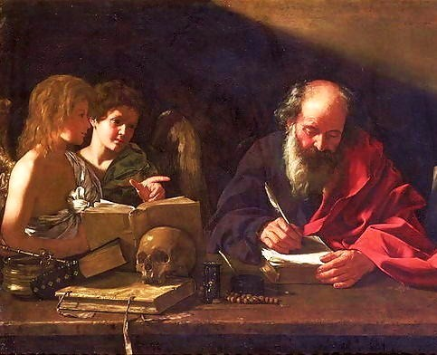 Bartolomeo Cavarozzi, 17th Century: St. Jerome in HIs Study, Visited by Angels. He was the foremost Biblical scholar of the ancient Church; the Latin Vulgate is his translation.