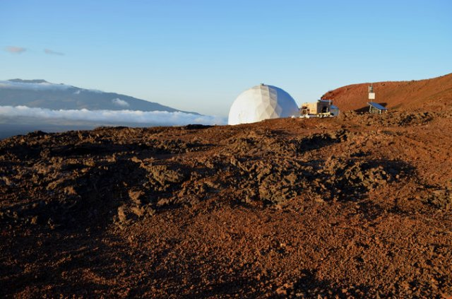 "Six would-be astronauts are getting ready to isolate themselves from humanity and occupy this ""Hi-Seas"" enclosure atop the Mauna Loa volcano in Hawai'i as a simulated environment for a future mission to Mars. They will live together for a year, cut off from most contact with the world except for e-mail, which will be on a 20-minute delay to represent the lag time between Earth and the red planet. If an emergency occurs they'll be rescued, but otherwise they'll be on their own. (Sian Proctor/University of Hawai'i at Manoa)"