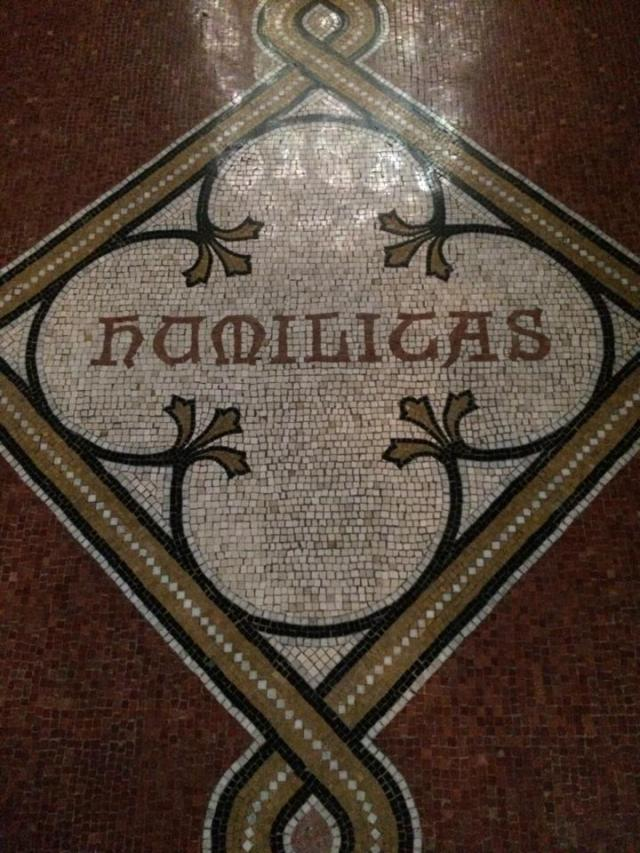 Humility in Latin, one of the Seven Heavenly Virtues rendered in a floor mosaic in the chapel of the strife-ridden General Theological Seminary, New York