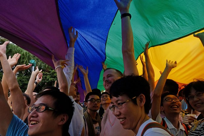 The 13th Annual LGBT Pride Day last Saturday in Taipei, Taiwan attracted Gay people from Japan, Malaysia, the Philippines, Singapore and mainland China, and is seen as a symbol of how far Taiwan has come in the 20 years since democratic reforms and free speech took hold. The main opposition to LGBT rights comes from the tiny Christian minority. (Sam Yeh/Agence France-Presse via Getty)