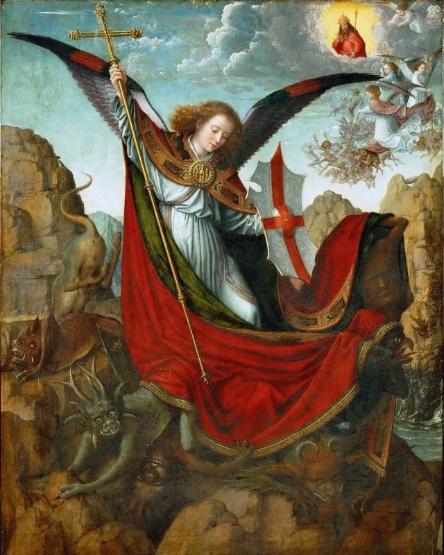 Gerard David, c. 1510: St. Michael Altarpiece, with the dragon under his feet. (Kunsthistorisches Museum, Vienna)