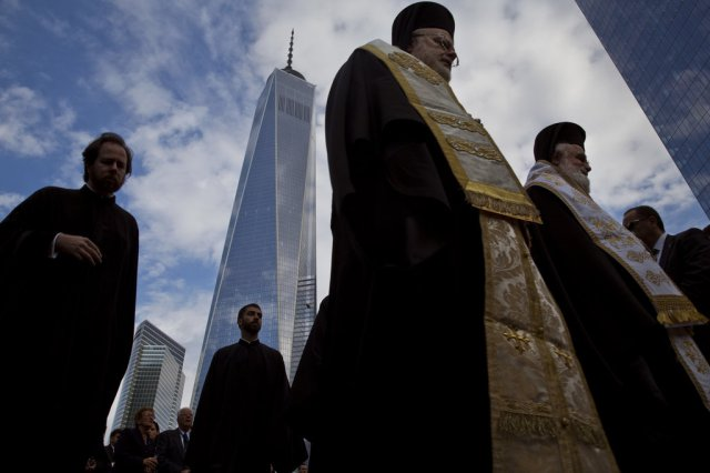 Groundbreaking ceremony last week of St. Nicholas Orthodox National Shrine, across from Ground Zero in New York, the only church destroyed on 9/11. Completion is expected next year. (Todd Heisler/The New York Times)