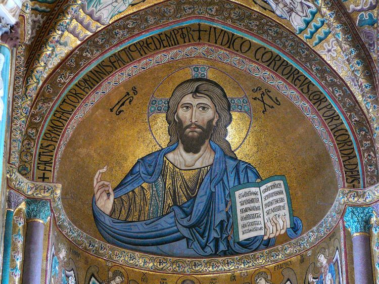 Christ Pantokrator, Lord of Hosts, God Almighty, Ruler of All, Sustainer of the World; Byzantine-style mosaic at the Cathedral of Cefalú, Sicily. dated to the 12th century and is  based on earlier icons in Constantinople. (Wikipedia)