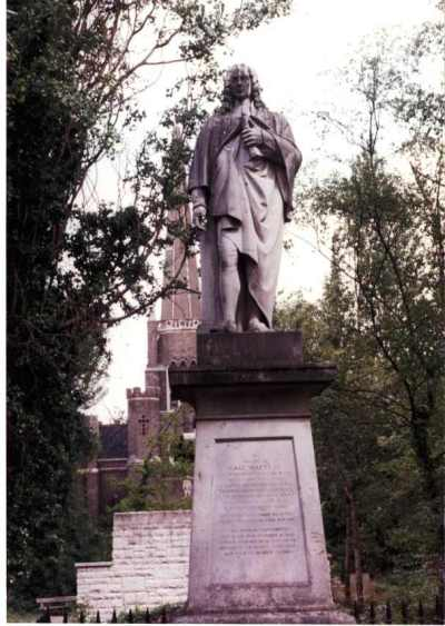 Statue of Isaac Watts at Abney Park, Stoke Newington, England. He lived with his patrons Sir Thomas Abney, the Lord Mayor of London, and Lady Mary for 36 years until the end of his life. He especially enjoyed taking walks in the park at Abney Hall and often sought refuge and inspiration there. (Wikipedia)