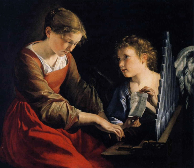 Orazio Gentileschi, c. 1621: St. Cecilia with the Angel. She is the patron saint of singers, organ builders, musicians and poets. She is remembered for the passion with which she sang the praises of God, and her legacy is considered to be the strong belief that good music is essential in worship.