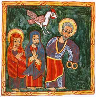 Peter denies Jesus. (artist unknown)