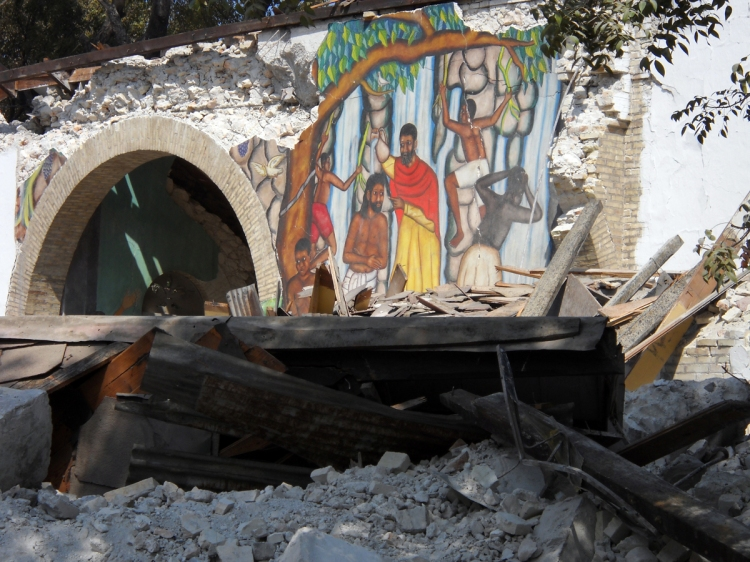 Ruins of the baptism fresco at Holy Trinity Cathedral, Port-au-Prince, Haiti, after the earthquake in 2010. This isn't just a picture of tragedy, though; you can see the faith and spirit that made these frescoes world-famous.