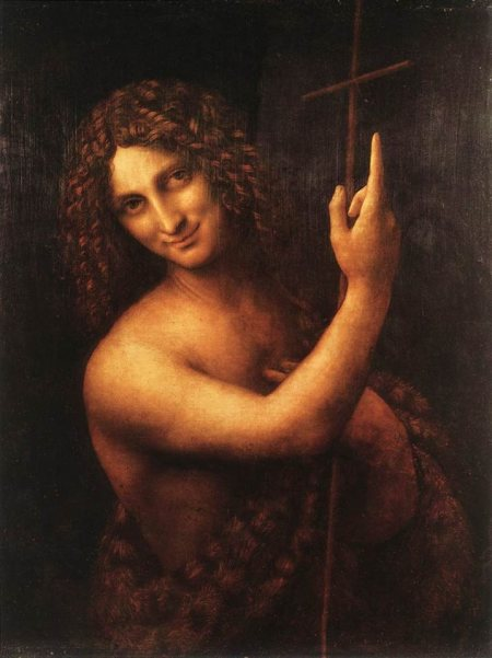 Leonardo da Vinci: St. John the Baptist. Herod got drunk, made a foolish promise and then was too proud to rescind it in front of his friends. But this smiling John, so different from the locusts and wild honey stereotypes, shows him not only triumphant, but amused.