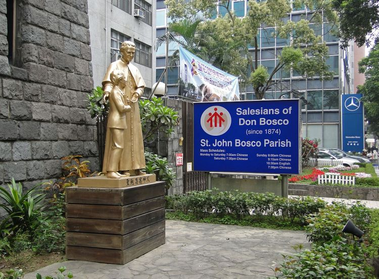 Statue of St. Juan Bosco in Taipei, Taiwan; as a child he loved the circus, and used to put on shows in the back yard for neighborhood children - as long as they stayed and said their prayers with him. (Bernard Gagnon, Wikipedia)